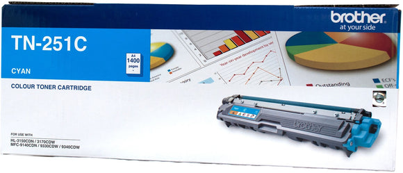 Brother TN Toner Cartridge, Cyan, 1,400 pages (TN-251C)