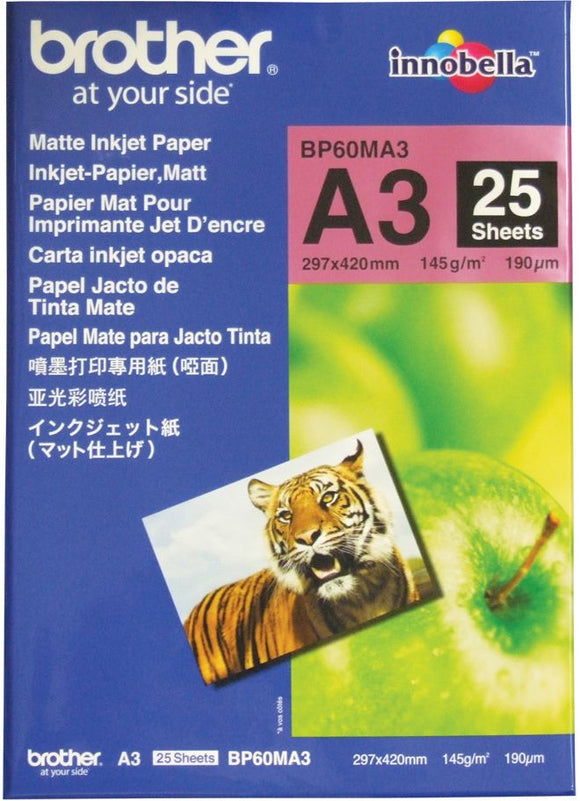 Brother BP Paper, Matte, 25 Sheets (BP-60MA3)