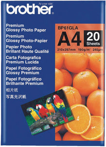 Brother BP Paper, Glossy, 20 Sheets (BP-61GLA)