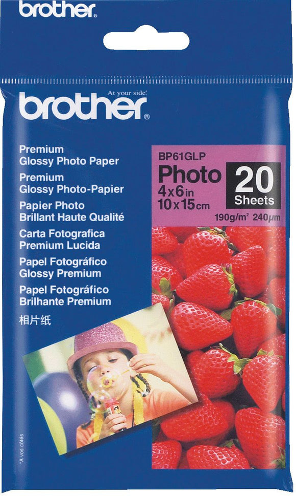 Brother BP Paper, Glossy, 20 Sheets (BP-61GLP)