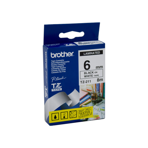 Brother Black on White Laminated (TZE-211)
