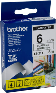 Brother TZE Labelling Tape, 6mm Width, Black on White, 8m Long (TZE-211)