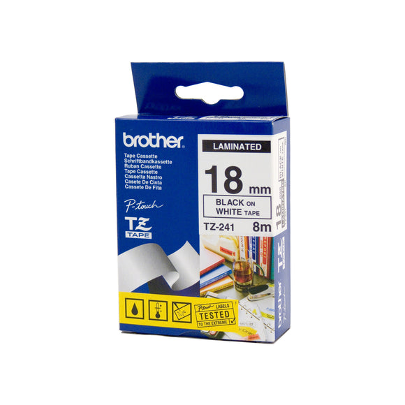 Brother Black on White Laminated (TZE-241)