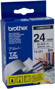 Brother TZE251 Black on White 24mm x 8m Label Tape