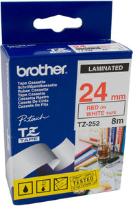 Brother TZE Labelling Tape, 24mm Width, Red on White, 8m Long (TZE-252)