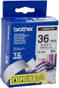Brother TZE Labelling Tape, 36mm Width, Black on White, 8m Long (TZE-261)