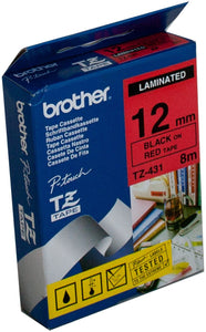 Brother TZE Labelling Tape, 12mm Width, Black on Red, 8m Long (TZE-431)