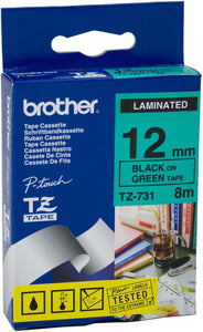 Brother TZE Labelling Tape, 12mm Width, Black on Green, 8m Long (TZE-731)