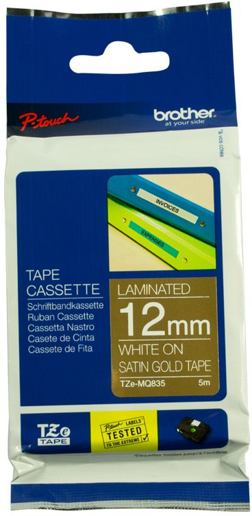 Brother TZE Labelling Tape, 12mm Width, Matt White on Satin Gold, 5m Long (TZE-MQ835)