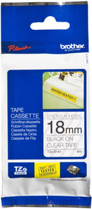 Brother TZE Strong Adhesive Labelling Tape, 18mm Width, Black on Clear, 8m Long (TZE-S141)