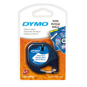 Dymo LetraTag 12mm x 4m Plastic Pearl White Label Tape (91331)