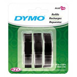 Dymo 9mm x 3m Black Embossing Label Tape 3 Pack