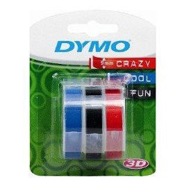Dymo 9mm x 3m Blue Red Green Embossing Label Tape 3 Pack