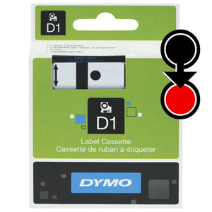 Dymo D1 19mm x 7m Black on Red Label Tape (SD45807)