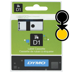 Dymo D1 19mm x 7m Black on Yellow Label Tape (SD45808)
