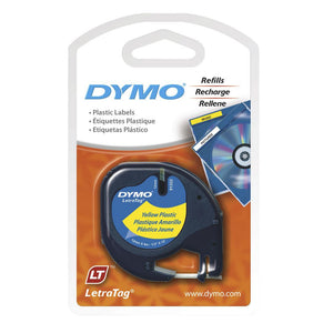Dymo LetraTag 12mm x 4m Plastic Hyper Yellow Label Tape (91332)