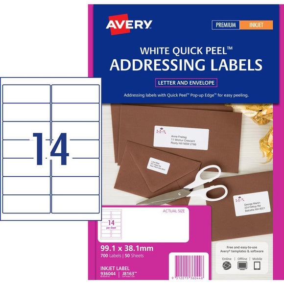 Avery Inkjet Label J8163 14UP 50 Pack