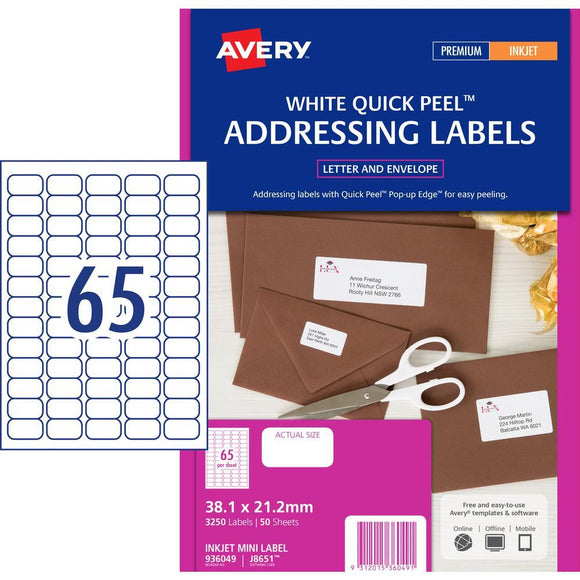 Avery Inkjet Label J8651 65UP 50 Pack