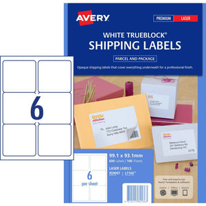 Avery Laser Label L7166 6UP 100 Pack