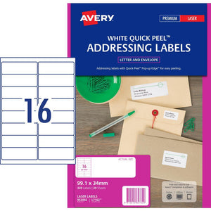 Avery Address Labels with Quick Peel for Laser Printers, 99 1 x 34 mm, 320  Labels (952002 / L7162)