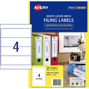 Avery Filing Label L7171 Lever Arch White 25 Pack