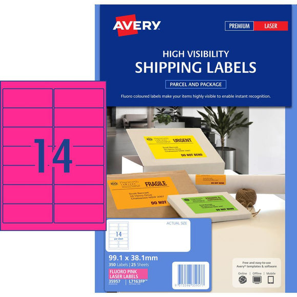 Avery Fluoro Label L7163FP 14UP Pink 25 Pack