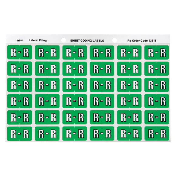 Avery R Side Tab Colour Coding Labels for Lateral Filing, 25 x 38 mm, Light Green, 180 Labels (43318)
