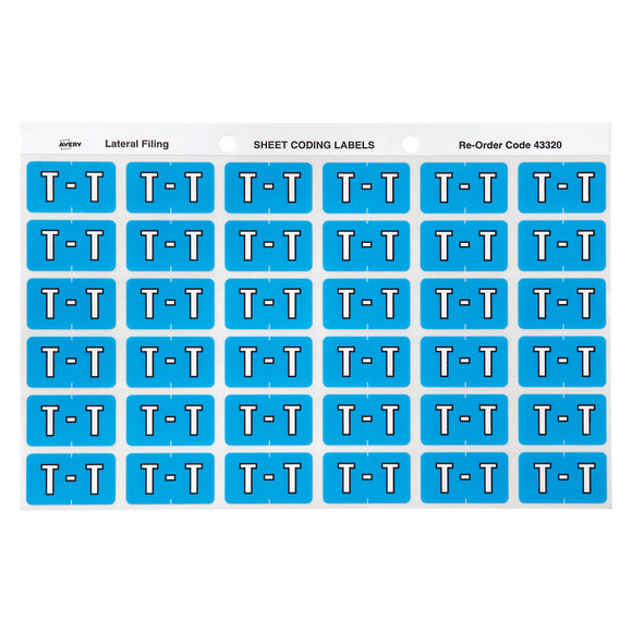 Avery T Side Tab Colour Coding Labels for Lateral Filing, 25 x 38 mm, Blue, 180 Labels (43320)