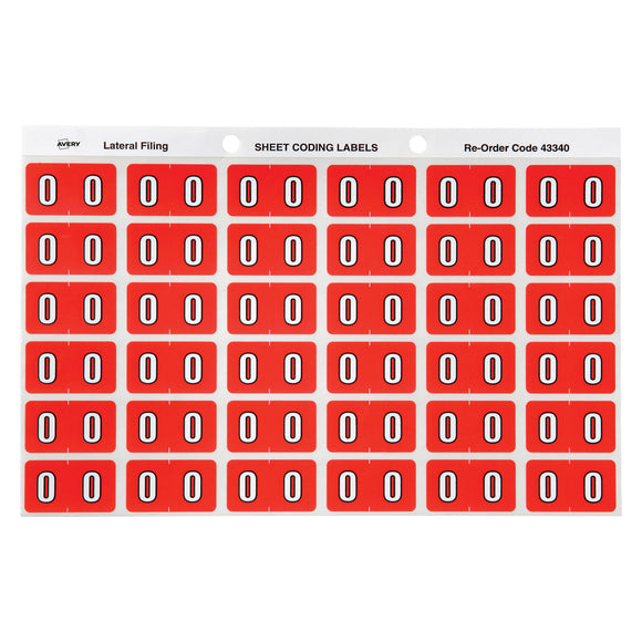 Avery Numeric 0 Side Tab Colour Coding Labels 25 x 38 mm Pink 180 Pack (43340)
