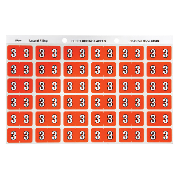 Avery Numeric 3 Side Tab Colour Coding Labels 25 x 38 mm Dark orange 180 Pack (43343)