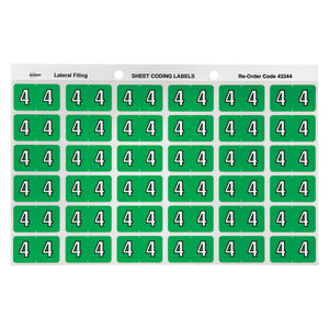 Avery Numeric 4 Side Tab Colour Coding Labels 25 x 38 mm Light green 180 Pack (43344)