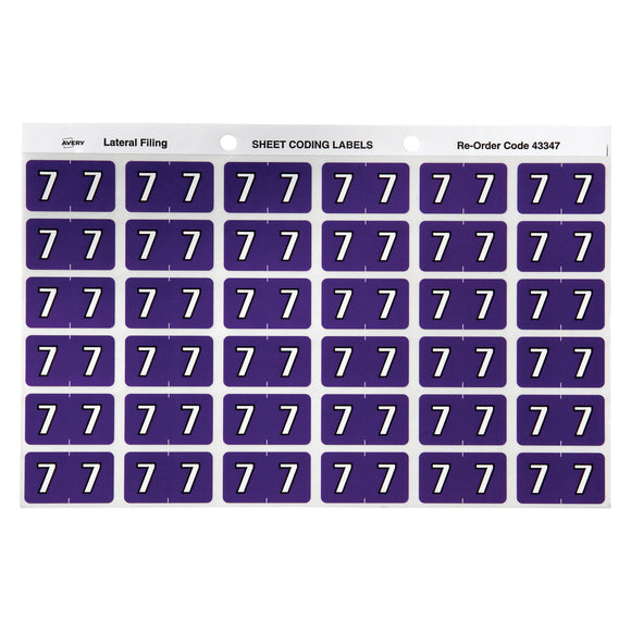 Avery Numeric 7 Side Tab Colour Coding Labels 25 x 38 mm Purple 180 Pack (43347)