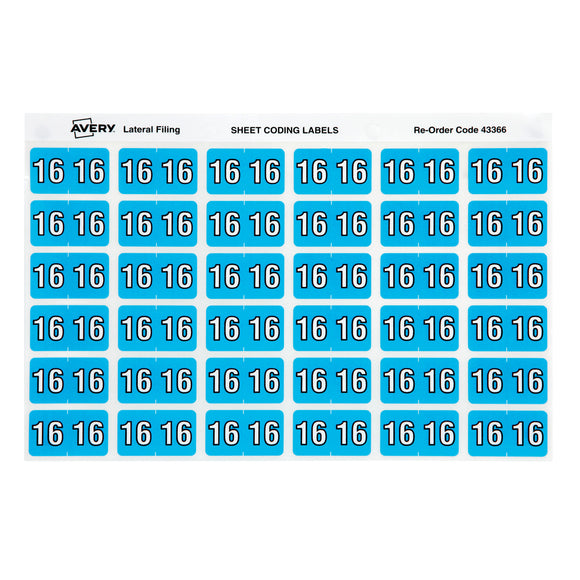 Avery Side Tab Year Code 16 Labels 25 x 38 mm blue 180 Pack (43366)
