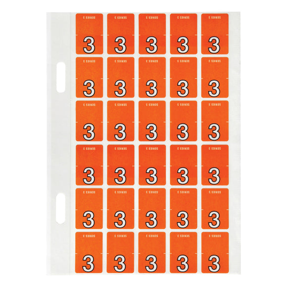 Avery Top Tab Colour Code Labels 3 20 x 30 mm Dark orange 150 Pack (44203)