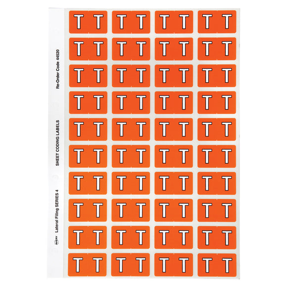 Avery Alphabetical T Side Tab Colour Coding Labels 42 x 25 mm Orange 240 Pack (44520)