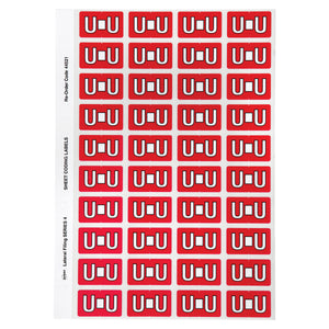 Avery Alphabetical U Side Tab Colour Coding Labels 42 x 25 mm Red 240 Pack (44521)