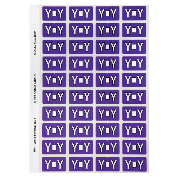 Avery Alphabetical Y Side Tab Colour Coding Labels 42 x 25 mm Purple 240 Pack (44525)