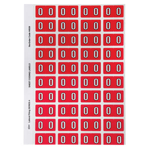 Avery Numeric 0 Side Tab Colour Coding Labels 42 x 25 mm Red 240 Pack (44528)