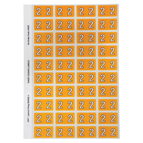 Avery Numeric 2 Side Tab Colour Coding Labels 42 x 25 mm Yellow 240 Pack (44530)