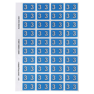 Avery Numeric 3 Side Tab Colour Coding Labels 42 x 25 mm Blue 240 Pack (44531)