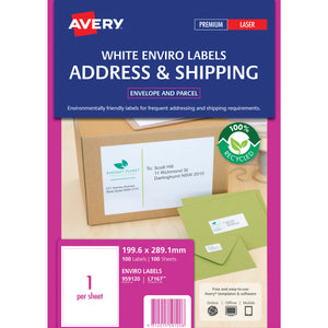 Avery Labels Laser Enviro L7167ev Shipping 199.6 X 289.1mm 1/Sheet