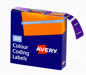 Avery I Side Tab Colour Coding Labels for Lateral Filing, 25 x 38 mm, Purple, 500 Labels (43209)