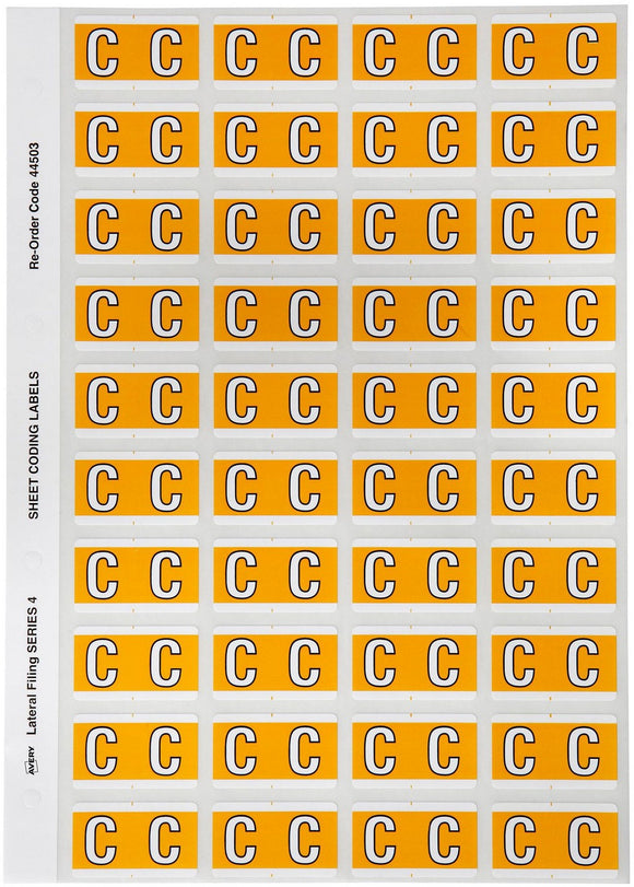 Avery C Side Tab Colour Coding Labels for Lateral Filing, 42 x 25 mm, Yellow, 240 Labels (44503)