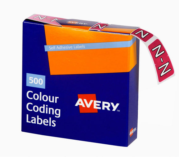 Avery N Side Tab Colour Coding Labels for Lateral Filing, 25 x 38 mm, Magenta, 500 Labels (43214)