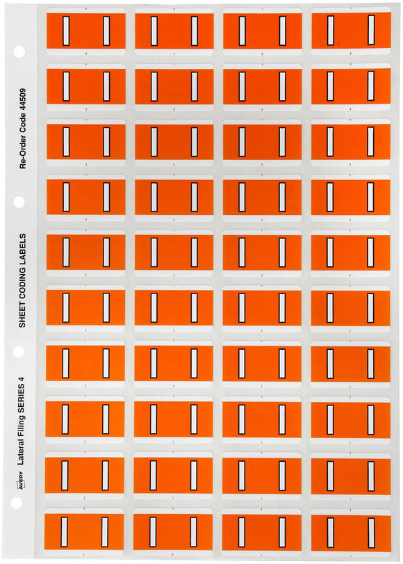 Avery I Side Tab Colour Coding Labels for Lateral Filing, 42 x 25 mm, Orange, 240 Labels (44509)