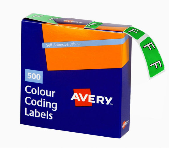 Avery F Side Tab Colour Coding Labels for Lateral Filing, 25 x 38 mm, Light Green, 500 Labels (43206)