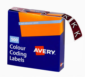 Avery K Side Tab Colour Coding Labels for Lateral Filing, 25 x 38 mm, Brown, 500 Labels (43211)
