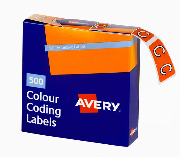 Avery C Side Tab Colour Coding Labels for Lateral Filing, 25 x 38 mm, Orange, 500 Labels (43203)