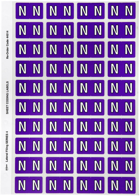 Avery N Side Tab Colour Coding Labels for Lateral Filing, 42 x 25 mm, Purple, 240 Labels (44514)