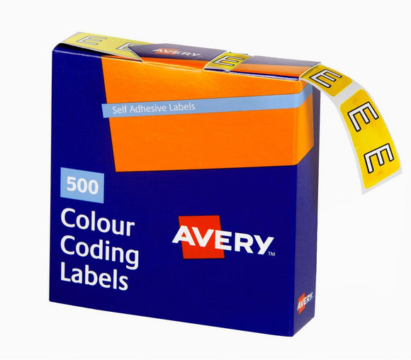 Avery E Side Tab Colour Coding Labels for Lateral Filing, 25 x 38 mm, Yellow, 500 Labels (43205)